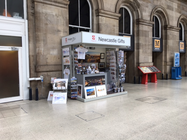 Images On kiosk at Newcastle Central Station